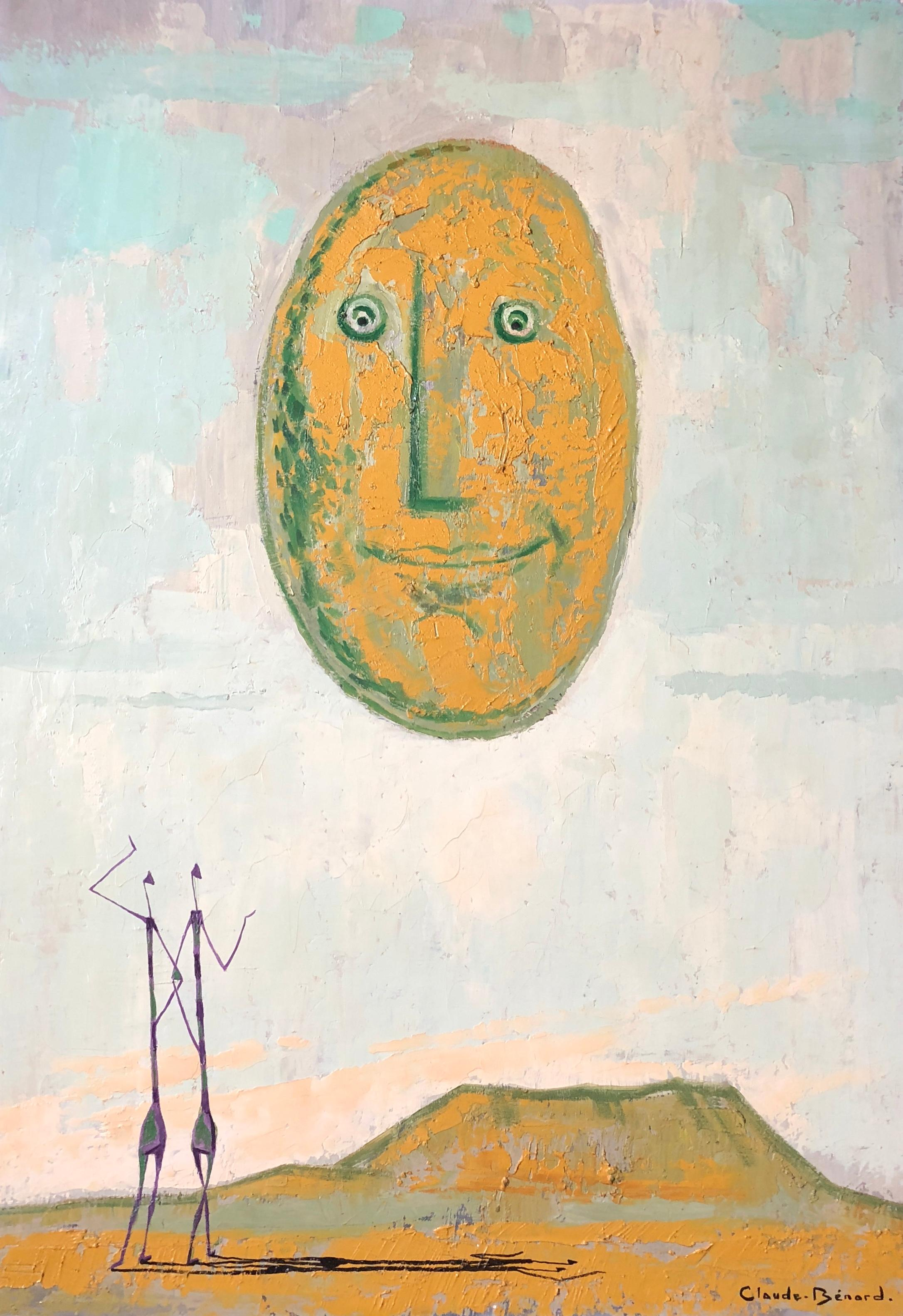 'Ailleurs', Surrealist Signed Oil Painting
