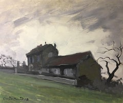 Brooding Farmhouse, Impressionist Landscape, Signed Oil Painting