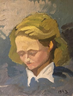 'Feeling Blue', Impressionist Portrait, French Oil Painting, Dated '1943'