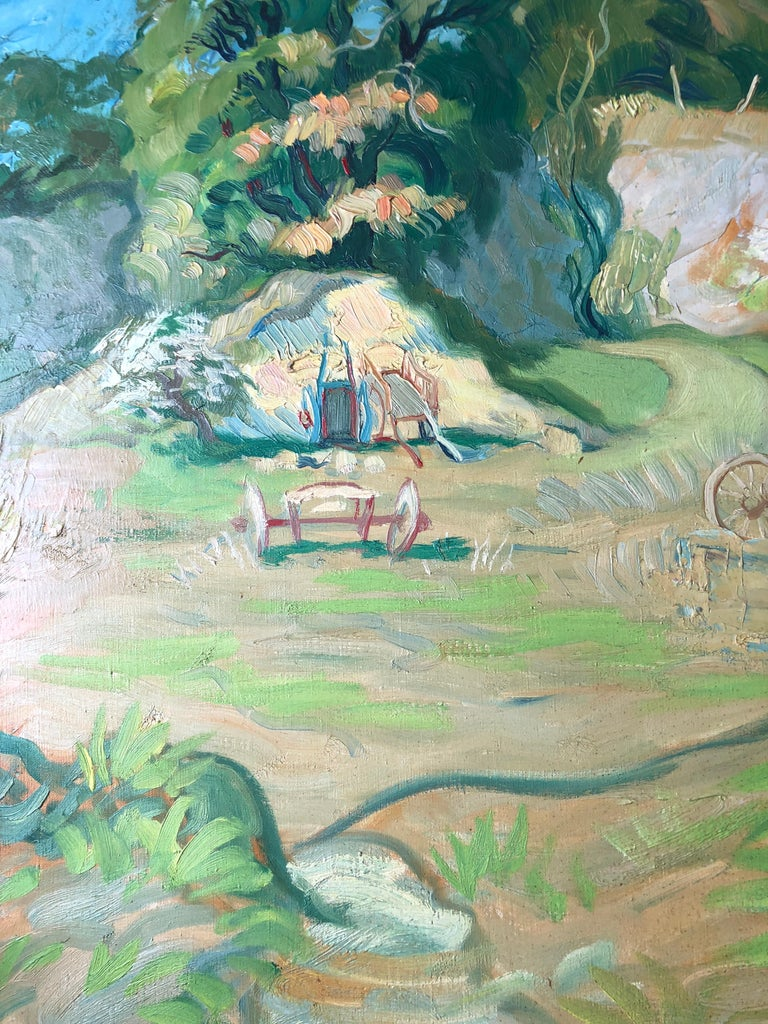 French Post-Impressionist Farm Landscape Signed Oil Painting For Sale 2