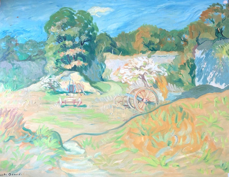 Claude Benard Landscape Painting - French Post-Impressionist Farm Landscape Signed Oil Painting