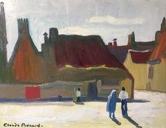 Impressionist Oil Painting of a Small French Village, Stylised, Colourful