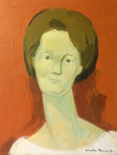 Impressionist Portrait, Stylised Orange Colour Oil Painting, Signed