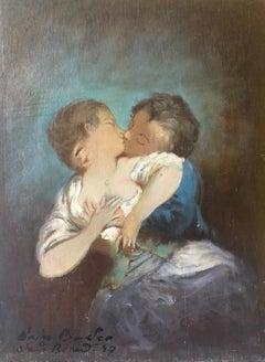 """""""Le Baiser d'apres Boucher"""", Impressionist Portrait, Oil Painting, Signed"""