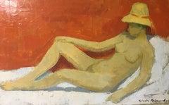 Nu Au Chapeau de Paille, Nude French Impressionist, Signed