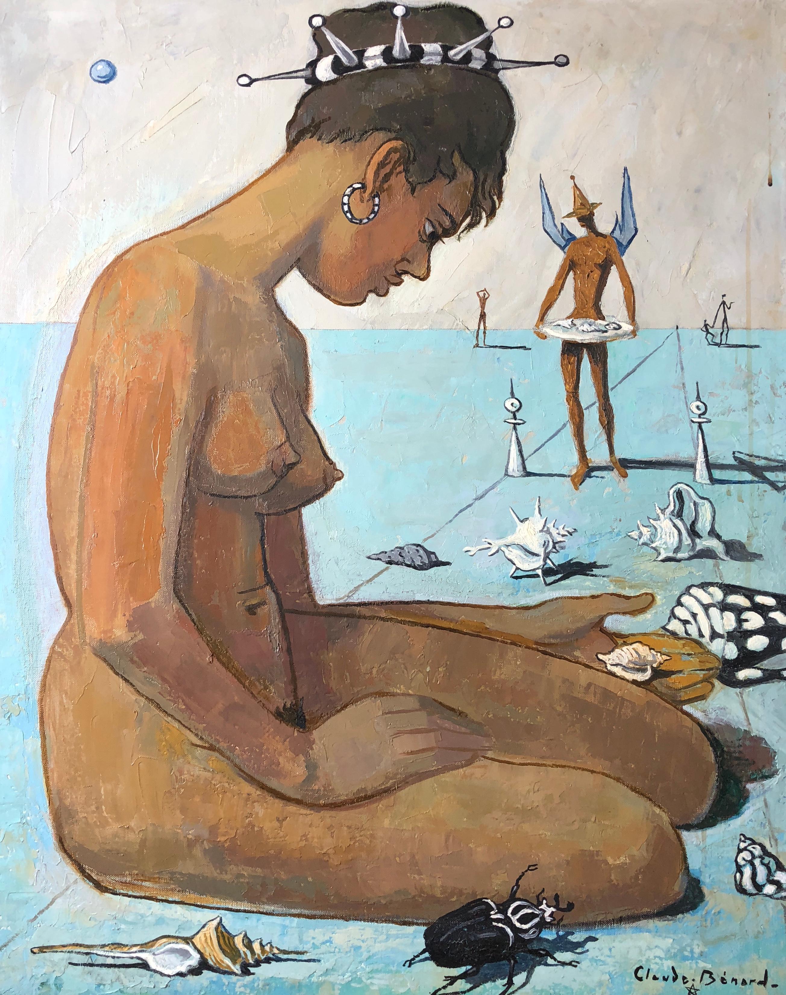 Nudist Woman, Surrealist Signed Oil Painting
