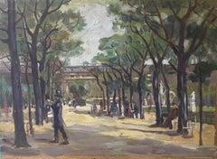 Parisian Park, Impressionist Landscape, Oil Painting