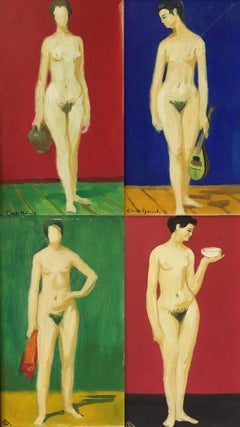 Set of Four Impressionist Nude Portraits, Separate Oil Paintings, All Signed