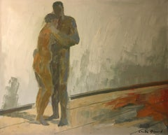 The Embrace, Very Large Impressionist Nude Portrait, Signed Oil Painting