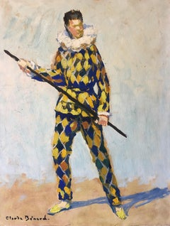 The Jester, Impressionist Portrait, Signed Oil Painting