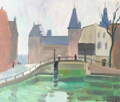 Village Road with Bridge, Impressionist Landscape, Signed Oil Painting