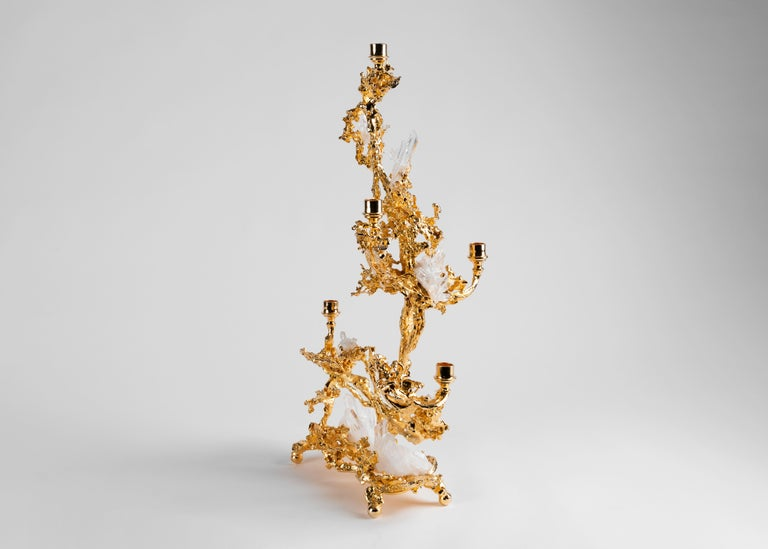 Gilt Claude Boeltz, Bronze Eclaté Candelabrum, United States, 2019 For Sale