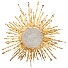 Claude Boeltz Exploded Bronze and 24-Karat Gold Sunburst Flush Mount Chandelier