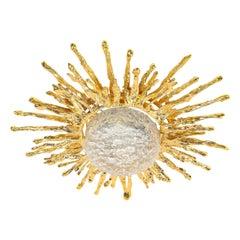 Claude Boeltz Exploded Bronze and 24-Karat Gold Sunburst Flush Mount Chandelier
