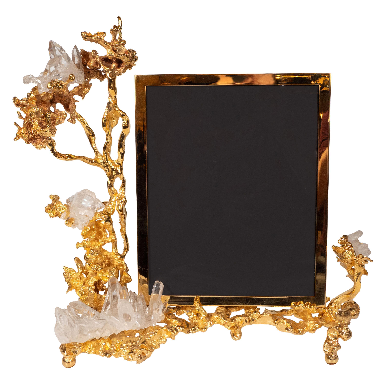 Claude Boeltz Exploded Bronze Picture Frame w/ 24kt Gold & Rock Crystal Details