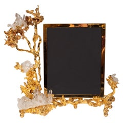 Claude Boeltz Exploded Bronze Picture Frame w/ 24kt Gold & Rock Crystal Details
