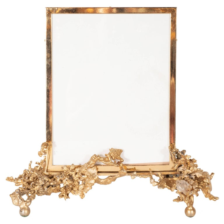 "Claude Boeltz Midcentury 24 Karat Gold ""Exploded"" Bronze and Rock Crystal Frame For Sale"