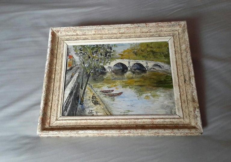 French Post Impressionist Bord de Seine Landscape Painting For Sale 1