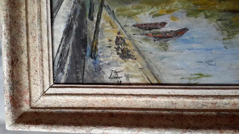 French Post Impressionist Bord de Seine Landscape Painting For Sale 2