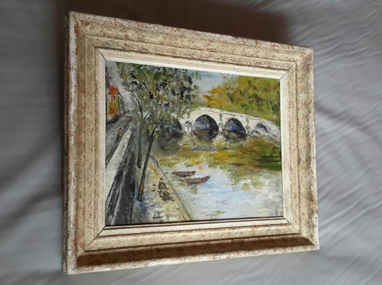 French Post Impressionist Bord de Seine Landscape Painting For Sale 3