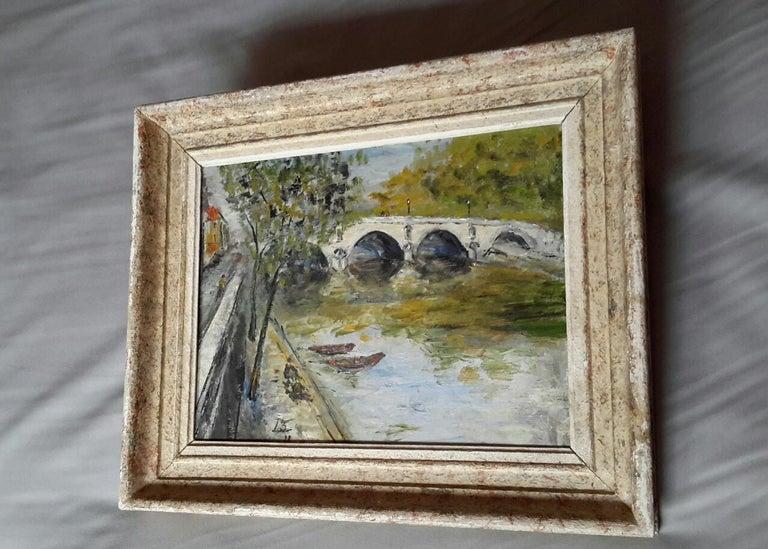 French Post Impressionist Bord de Seine Landscape Painting For Sale 4