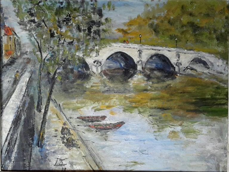 French Post Impressionist Bord de Seine Landscape Painting For Sale 6