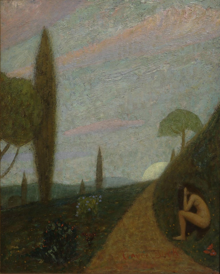 Thoughts -- Women Figurative in Landscape - Painting by Claude Buck