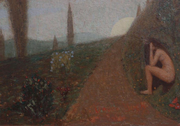 Thoughts -- Women Figurative in Landscape - Symbolist Painting by Claude Buck