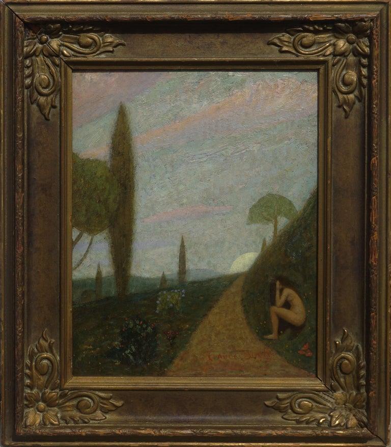 Claude Buck Portrait Painting - Thoughts -- Women Figurative in Landscape