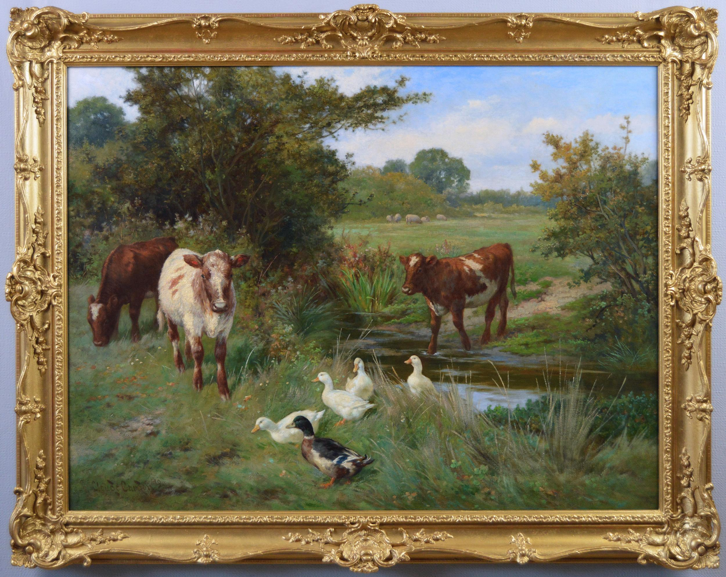 19th Century landscape animal oil painting of cows & ducks at a river