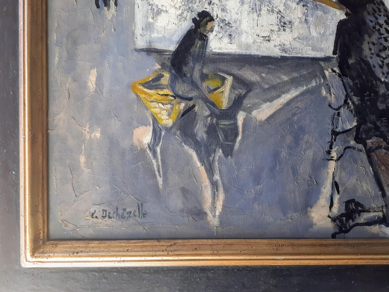 A major, mid century modern work by French artist Claude Dechezelle (1928-2003). Having studied with the art deco painter and designer Jean Dupas at the Paris Academy of Fine Arts, Dechezelle obtained the Velasquez Prize and with it, a scholarship