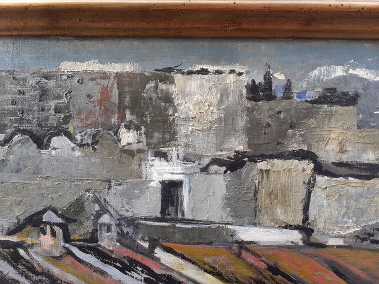Large mid century modern abstracted cityscape painting southern landscape For Sale 1