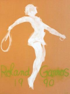 1990 Claude Garache 'Roland Garros French Open' Modernism Brown,Green,White