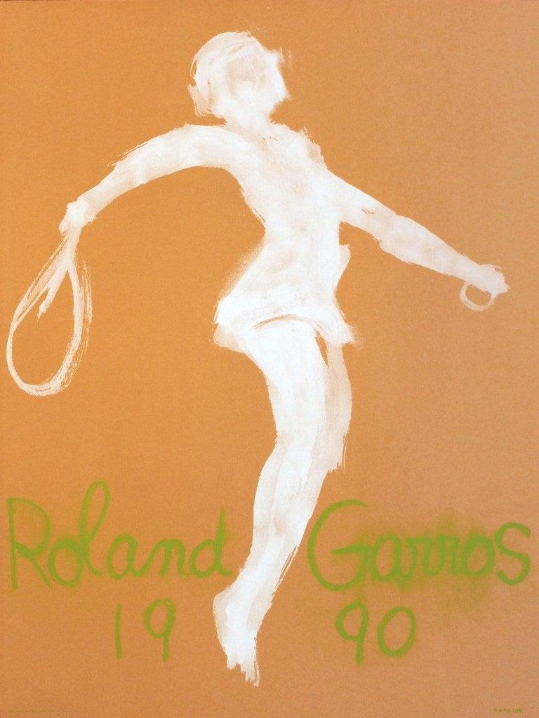 1990 Claude Garache 'Roland Garros French Open' Modernism Brown,Green,White  - Print by Claude Garache