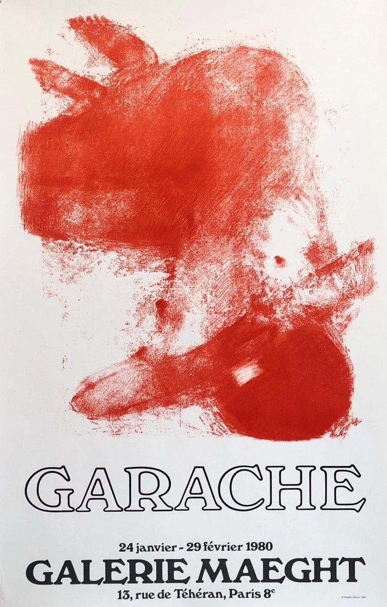 Bright bold red or orange on white. Vintage gallery exhibition poster.   The Galerie Maeght is a gallery of modern art in Paris, France, and Barcelona, Catalonia, Spain. The gallery was founded in 1936 in Cannes. The Paris gallery was started in