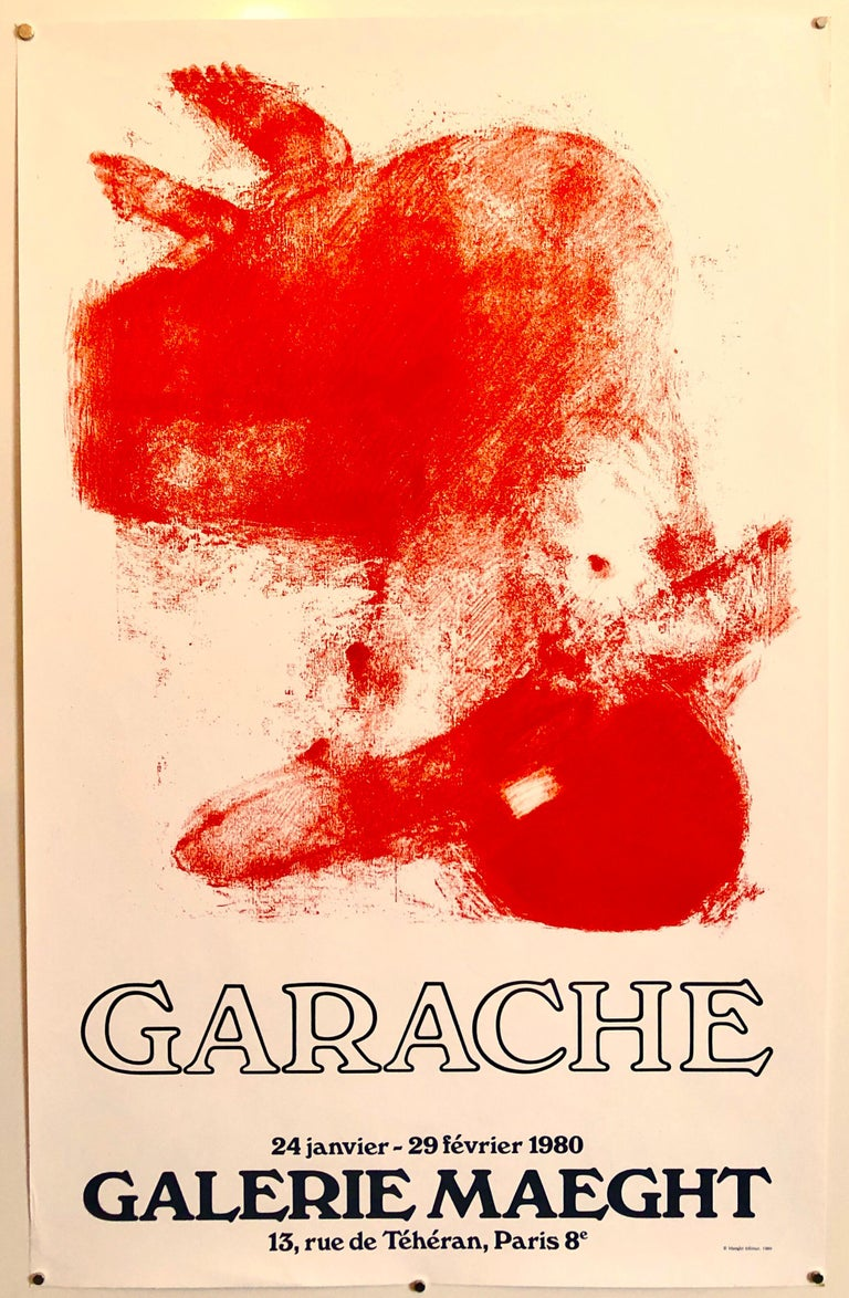 French Post Modern Orange Red Pop Art Lithograph Vintage Poster Galerie Maeght For Sale 4