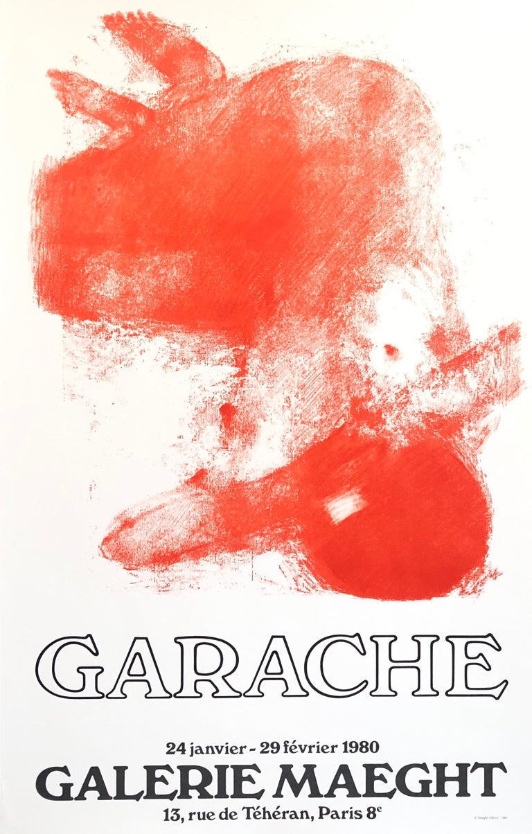 Claude Garache Abstract Print - French Post Modern Orange Red Pop Art Lithograph Vintage Poster Galerie Maeght