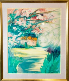 French Modernist Vivid Bright Fauvist Landscape Watercolor Gouache Painting