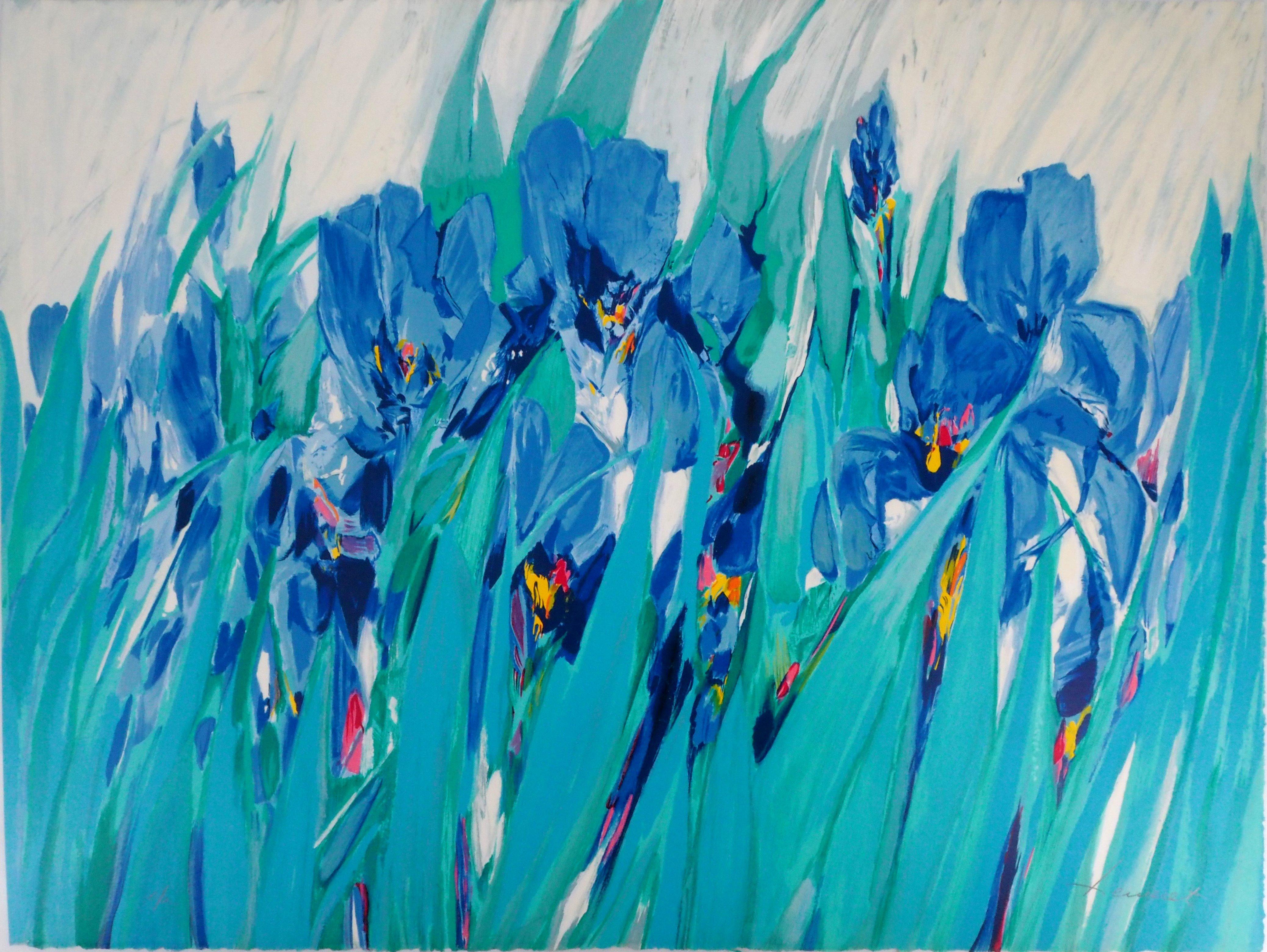 Blue Iris -  Original Lithograph, Handsigned