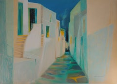 Greece : Old street in Santorini - Original Lithograph, Handsigned