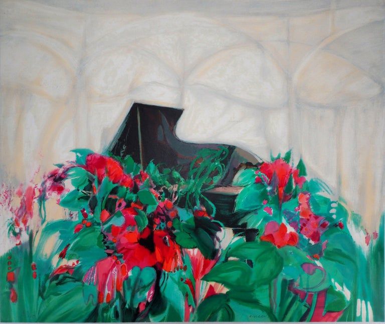 Claude Hemeret Interior Print -  Music : Piano, the Concert Hall -  Original Lithograph, Handsigned and /170