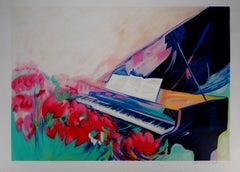Piano and Music Sheet -  Original Lithograph, Handsigned