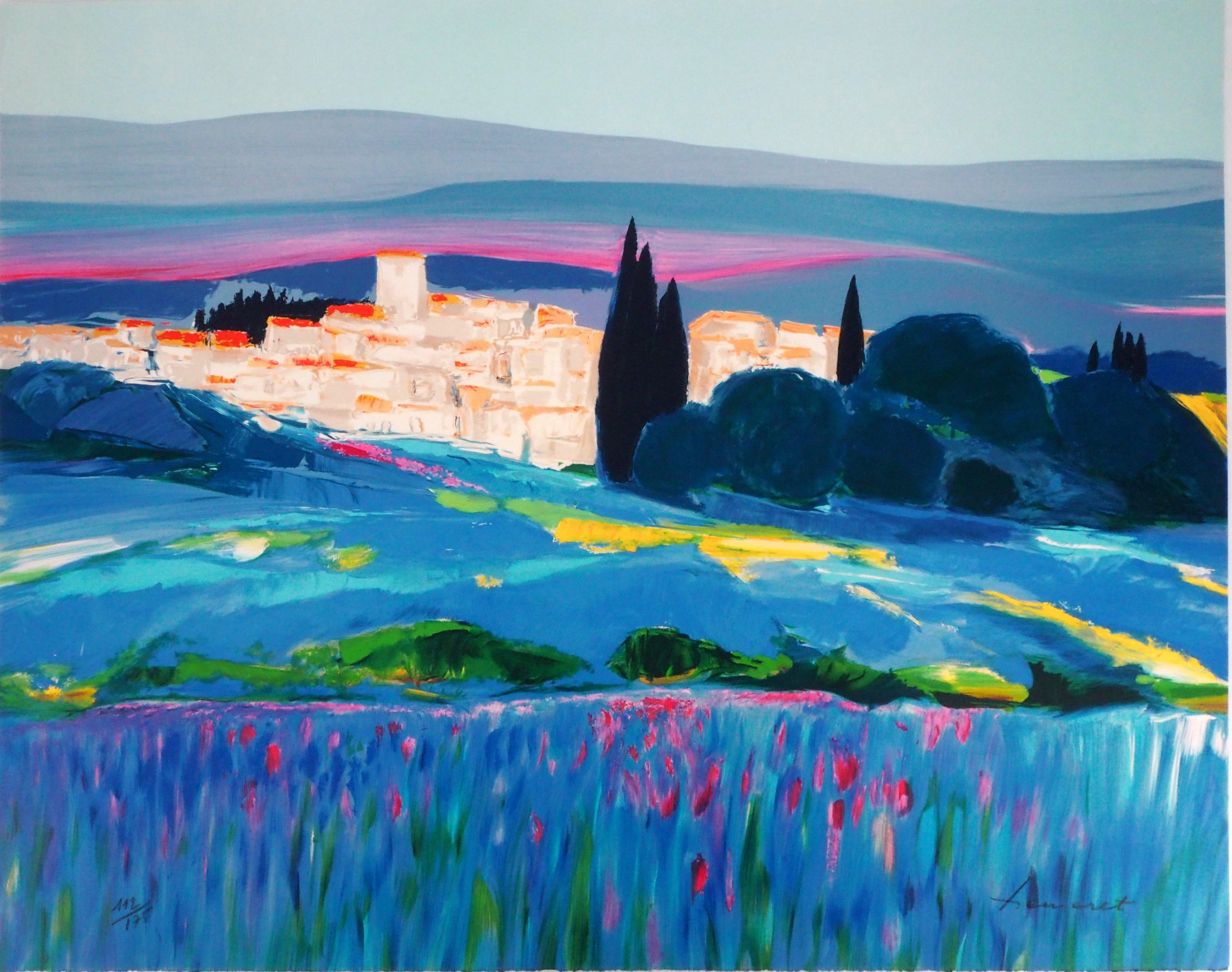 South of France : Village in Provence - Original Lithograph, Handsigned