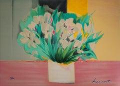 White Irises -  Original Lithograph, Handsigned