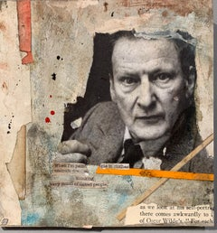 Abstract collage Portrait of Lucian Freud, with paint, ink on  antique paper,
