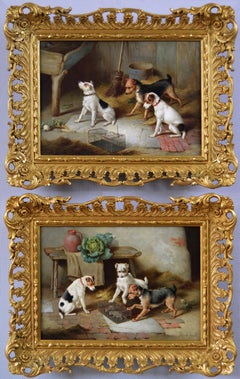 Pair of 19th Century genre animal oil paintings of terrier dogs