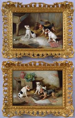 Pair of 19th Century genre animal oil paintings of terrier dogs