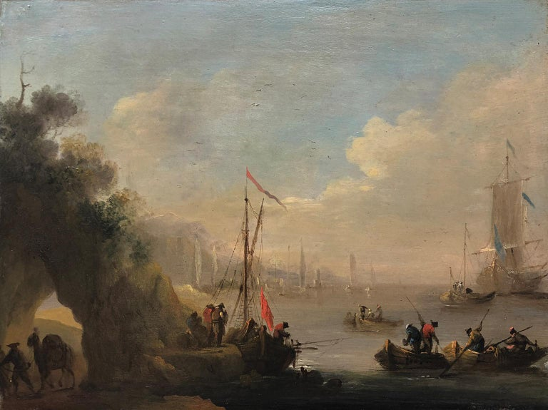 Circle of Claude Joseph Vernet (French 1714-1789) Mediterranean Port - Old Masters Painting by Claude Joseph Vernet