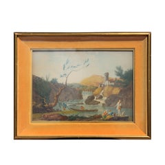 Neoclassical Landscape Engraving of Fishermen In the Style of Joseph Vernet