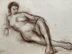 CLAUDE LAGOUCHE (1943-2020) ORIGINAL 1960s FRENCH CHARCOAL DRAWING - NUDE